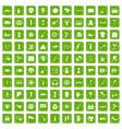 100 street festival icons set grunge green vector image