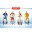 2018 soccer or football team uniform group c vector image vector image