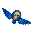 Angry beholder blue bird soars and observe looks vector image
