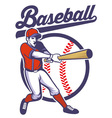 baseball player hitting the ball vector image vector image
