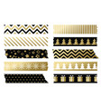 black and gold christmas washi tapes vector image
