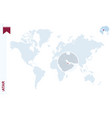 blue world map with magnifying on qatar vector image vector image
