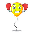 boxing yellow balloon cartoon in shape vector image vector image