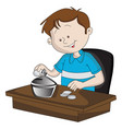 boy saving money in piggy bank vector image