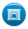 brick fireplace icon blue vector image vector image