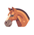 brown horse head side view flat icon vector image vector image