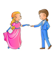 Cartoon boy and girl dancing vector image vector image