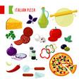 cartoon italian pizza ingredients set vector image vector image