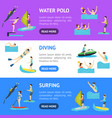 cartoon water sport and characters people banner vector image vector image