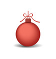 christmas tree ball with ribbon bow red bauble vector image vector image