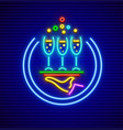 cocktail restaurant neon sign vector image vector image