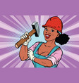 construction worker with hammer woman vector image vector image