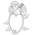 Cupid Over a Heart Shape Sign Coloring Page vector image