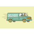 Delivery van and delivery man vector image