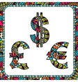 Dollars euro and pound with ethnic motifs vector image vector image