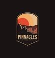 emblem patch logo pinnacles national park vector image vector image