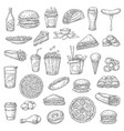 fast food burgers drinks and desserts vector image vector image