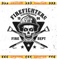 firefighters emblem with skull fireman vector image vector image