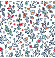 flower and grass seamless pattern vector image vector image