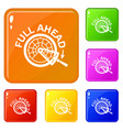 full ahead icons set color vector image