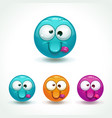 funny glossy comic round character crazy face vector image