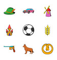 german icons set cartoon style vector image vector image