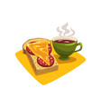 green cup with hot coffee or tea and sandwich with vector image vector image