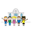 group children going to school isolated vector image vector image