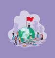 group of people with planet earth avatar character vector image vector image