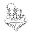 grunge family rabbit animal in the float island vector image vector image
