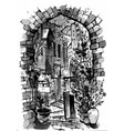 hand drawn of old street watercolor sketch vector image vector image
