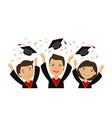 happy graduating students throwing graduation caps vector image