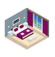 isometric bedroom interior interior a modern vector image