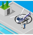 Isometric Helicopter with Business People vector image vector image