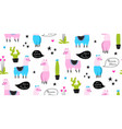 lamas and cacti funny animals seamless vector image