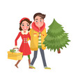 merry couple returns from shopping christmas tree vector image vector image