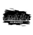 milwaukee wisconsin skyline silhouette hand drawn vector image vector image