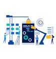 people teamwork working mobile application vector image