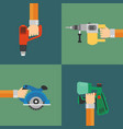power tools set modern design style flat vector image vector image