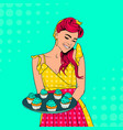redheaded housewife in yellow dress holds blue vector image