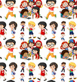Seamless background with boys and girls vector image vector image