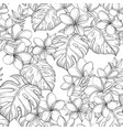 seamless pattern with tropical leaves and vector image vector image