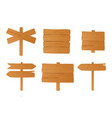 set different wooden signboards pointers vector image