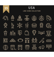 Set Flat Line Icons USA and America
