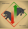 stock market concept bull vs bear with up and vector image vector image