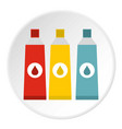 three color paint in tube icon flat style vector image vector image