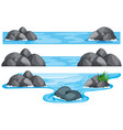 three scenes of river and lake vector image vector image