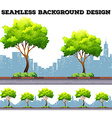 Tree along the sidewalk with city buildings vector image