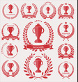 trophy and awards laurel wreath collection vector image vector image