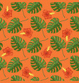 tropical pattern with monstera plants and flovers vector image vector image